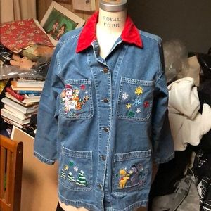 The Disney Catalog Embroided Pooh jeans jacket